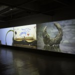 .Trilogy, 2010-2011, 3 super 16mm transfer to HD, installation view, Land & Sea, 2011, le Crédac, Ivry-sur-Seine, curated by Claire Le Restif
