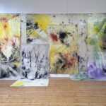 Sea Painting, Dunwich and Skateraw Beach, 2015- 2016, Mineral pigment, canvas, 400 x 725 cm, Installation view, British Art Show 8, Norwich, June 2016
