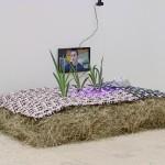 Camilla Wills - Sick Bed (detail) - 2015 - Hay, jacquard fabric, aluminum foil, screen, iris bulb, grow light - Dimensions variable