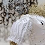 Press release (detail) - 2015 - Printed wedding dress, hay, bag