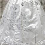 Press release (detail) - 2015 - Printed wedding dress, bag, hay - Dimensions variable