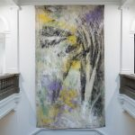 Sea Painting, Spurn Point, 2015, Mineral pigment, canvas, 575 x 310 cm, Installation view , British Art Show 8, City Art Gallery, Leeds, October 2015