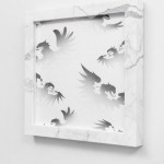 Claque & Shill (eagles), 2014, Graphite on paper, marble, 40 x 40 x 4 cm (Photo: Andrea Rossetti)