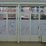 Window storyboard, 2013, Installation view, detail, Warercolors on windows, Gaudel de Stampa, Paris