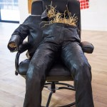 Untitled, 2015, Leather, reclining chair, straw, embroidered denim