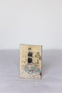 Oum Kalsoum, 2004, Mixed media on fabric, book and thread, 21 x 13 x 3 cm.