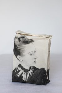 Delia Cancela, Elsa Schiaparelli, 2004, Mix media on fabric, thread, 21x 42 x 7 cm