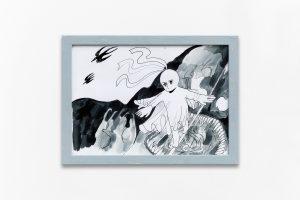 Corde raide, 2018, Ink on paper, framed, 24 × 33 cm