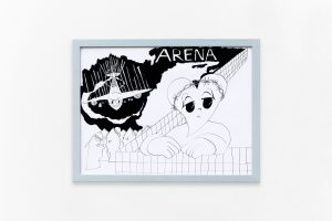 Airport heartbreak, 2018, Ink on paper, framed, 33 × 43 cm