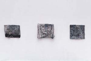 Catelle_1 & _2 & _3, 2018, Plaster, acrylic, 15 x 10,5; 13 x 15; 13,5 x 12,5 cm
