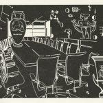 Meeting, 2016, lino printing, 20 x 30 cm
