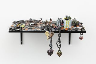 Teach Yourself to Fly, LiveInYourHead, HEAD, Geneva, Sept. 2020, Rigged game_2, 2020, Ceramic, wood, variable dimension