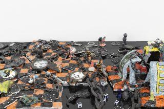 (detail) Rigged game_2, 2020, Ceramic, wood, variable dimension