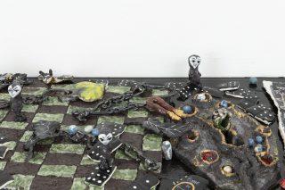 (detail) Rigged game_1, 2020, Ceramic, wood, variable dimension