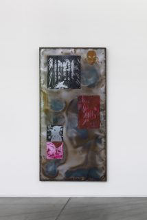 Matrice_I, 2021, Zinc plates etched and oil-marked, assembled on sheet metal, steel frame, 200 x 100 x 20 cm