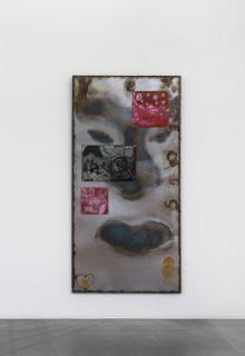 Matrice_II, 2021, Zinc plates etched and oil-marked, assembled on sheet metal, steel frame, 200 x 100 x 20 cm